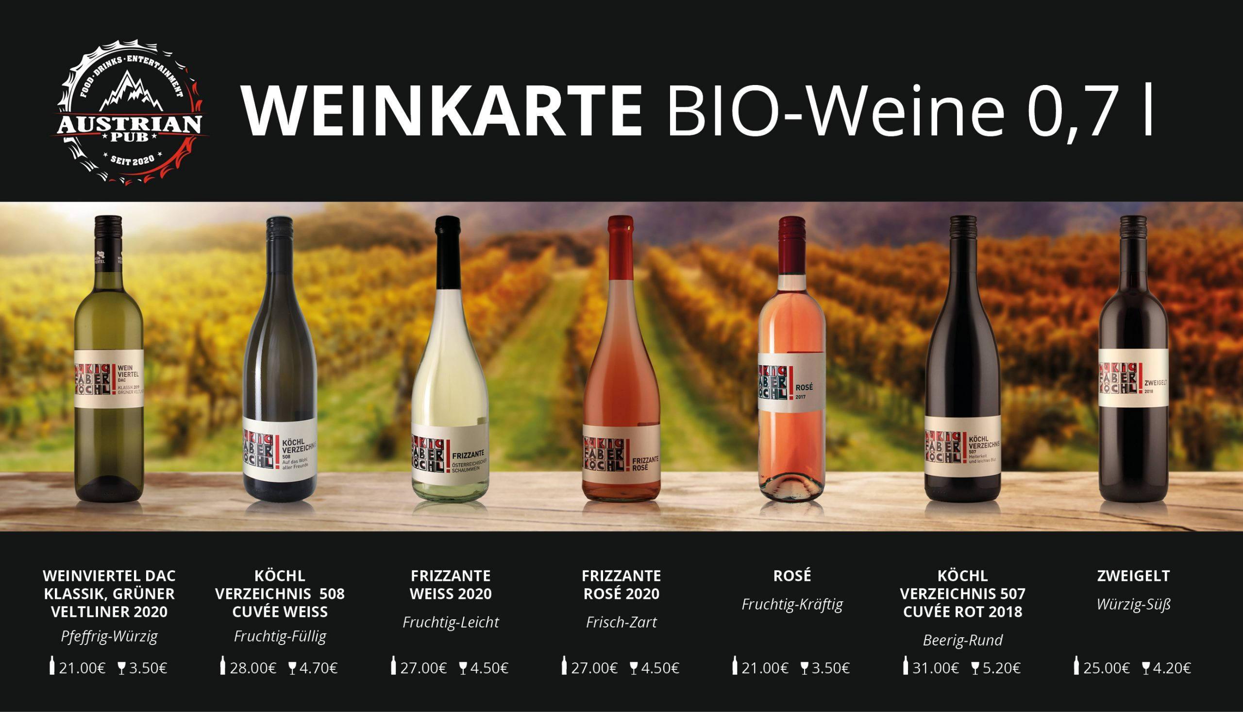 Austrian Pub Weinkarte