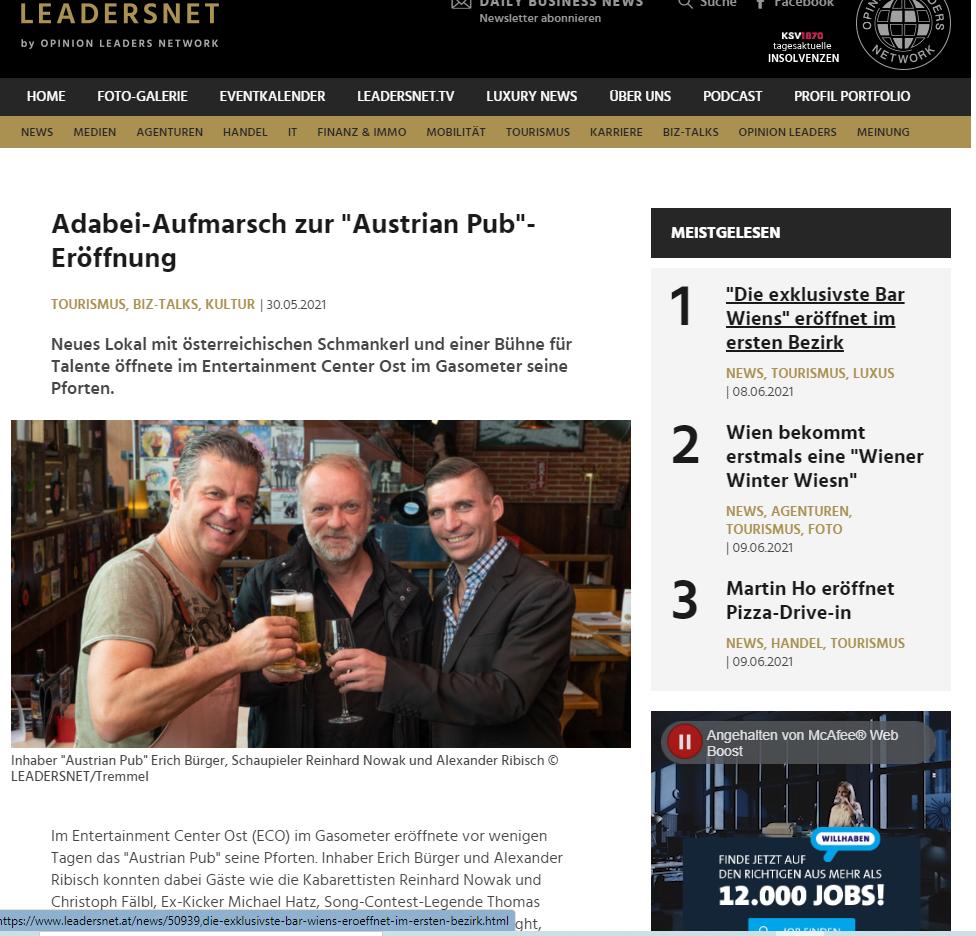 """Adabei-Aufmarsch zur """"Austrian Pub""""-Eröffnung – Artikel Leadersnet – 30. Mai"""